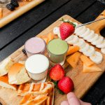 Chocolate Fondue platter of white, earl grey and matcha chocolate served with waffles and fruit